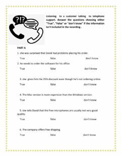 Interactive worksheet Listening a conversation phone