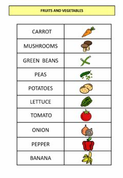 Interactive worksheet FRUITS AND VEGETABLES (listening)