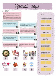 Interactive worksheet Festivities and celebrations