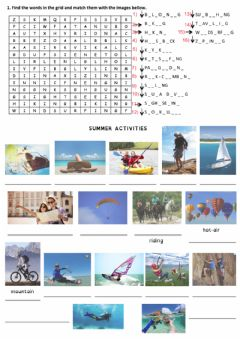 Interactive worksheet Summer activities