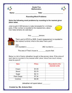 Interactive worksheet Rounding Word Problems