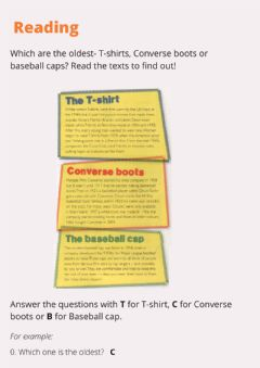 Interactive worksheet Origin of clothes reading