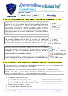 Interactive worksheet Prac. tema e idea principal y secundaria