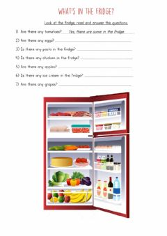 Interactive worksheet What's in the fridge? Answer