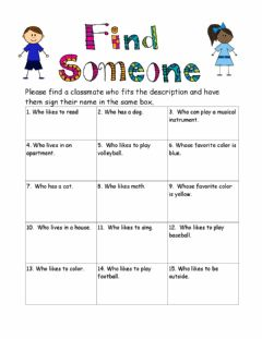 Interactive worksheet Find someone who