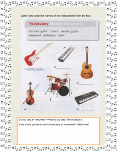Interactive worksheet Vocabulary: instruments
