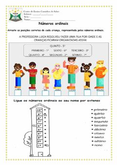 Interactive worksheet Números Ordinais