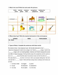 Interactive worksheet Music instruments and types of music