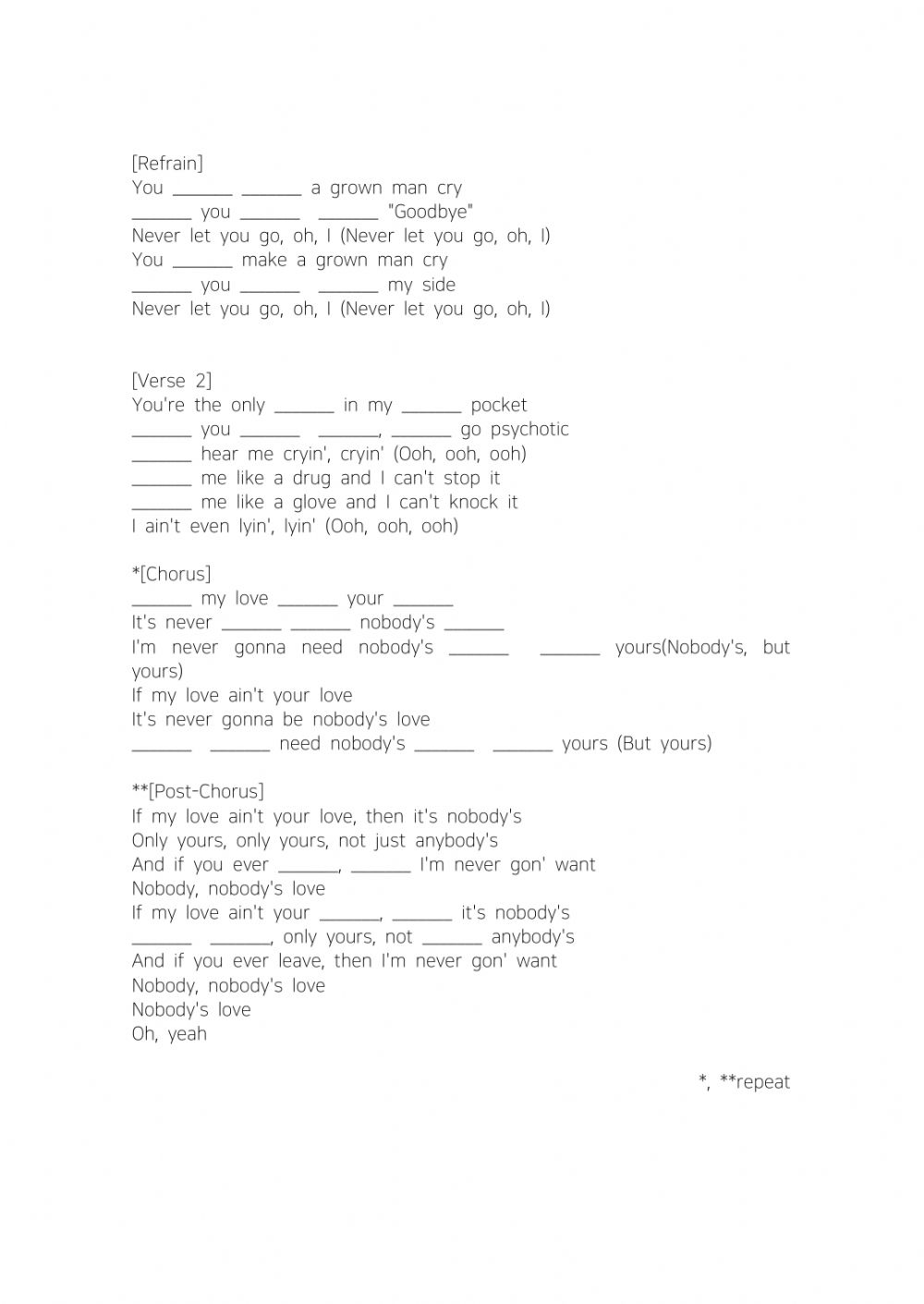 Nobody S Love Lyrics Maroon5 Worksheet She took control, pushed me on the wall took me in the stall told me give me what i want i just cant nobody's in love lyrics. nobody s love lyrics maroon5 worksheet