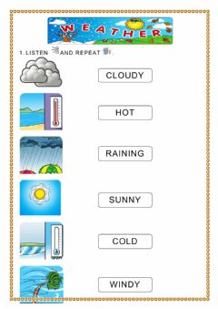 Interactive worksheet The weather - vocabulary