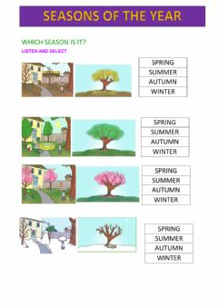 Interactive worksheet Seasons of the year