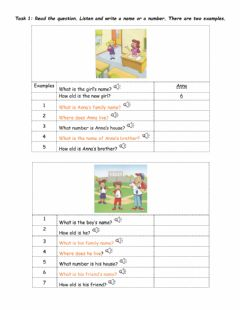 Ficha interactiva Starters practice: Listening part 2 & Reading part 1