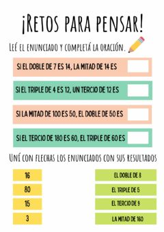 Interactive worksheet Mitades, dobles, tercios y triples