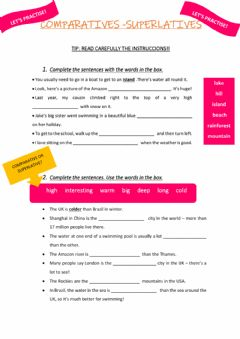 Interactive worksheet Comparatives - Superlatives