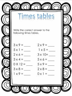 Interactive worksheet Times tables