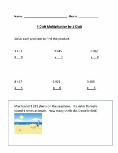Ficha interactiva Multiplication 4 Digit by 1 Digit