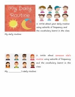 Interactive worksheet Daily Routine Writing