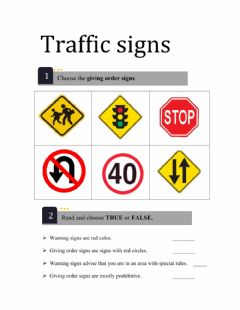 Interactive worksheet Traffic signs