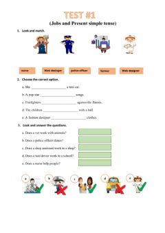 Interactive worksheet TEST 1 - Jobs and Present Simple