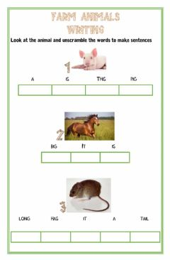Ficha interactiva Farm animals writing