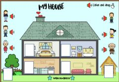 Interactive worksheet My House my family (Listen and drag)