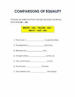Interactive worksheet Comparisons of equality