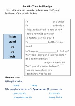 Interactive worksheet Present Continuous - I'm With You, Avril Lavigne