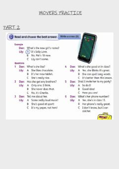 Interactive worksheet Reading and Writing movers practice part 2 and 3