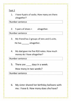 Interactive worksheet Story sums