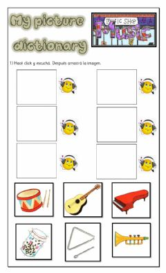 Interactive worksheet Picture Dictionary-INSTRUMENTS-K5
