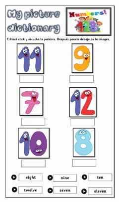 Ficha interactiva My dictionary-Numbers-1st form