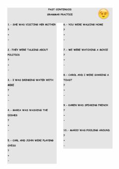Interactive worksheet Past Continuos - Grammar practice