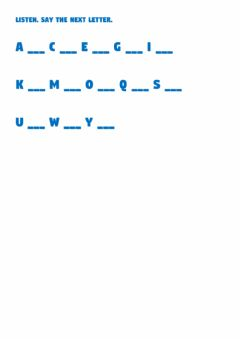Interactive worksheet Listen and say the next letter