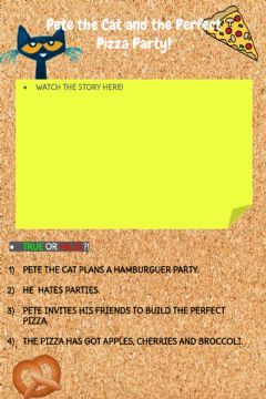Interactive worksheet Pete the Cat and the Perfect Pizza Party!