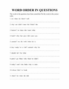Interactive worksheet Word order in questions