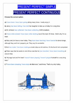 Interactive worksheet Present perfect simple and continuous
