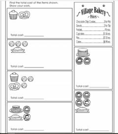 Interactive worksheet Adding items from a Bakery