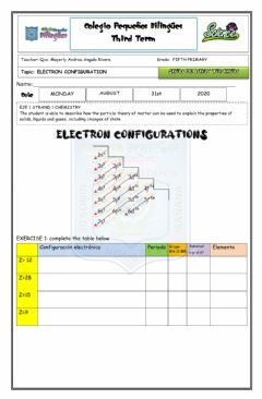 Ficha interactiva Show me what you know - electron configuration- fifth grade- third term