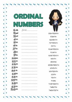 Interactive worksheet Ordinal numbers