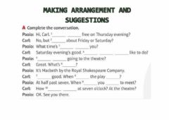 Interactive worksheet Making arrangement and suggestions