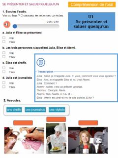 Interactive worksheet Se presenter et presenter les autres