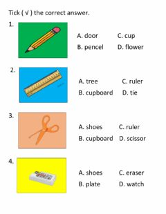 Interactive worksheet Things in the class