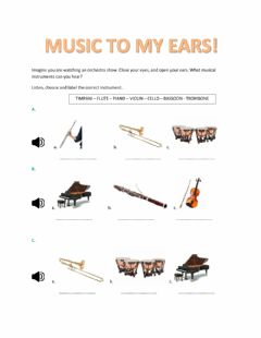 Interactive worksheet Music to my ears!