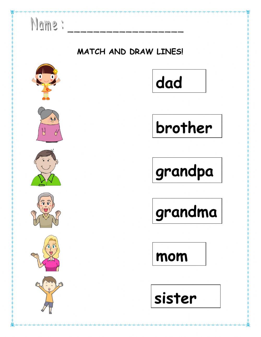 Match and draw lines. worksheet