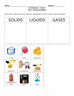 Interactive worksheet Classifying States of Matter