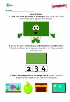 Interactive worksheet Rectangle shape