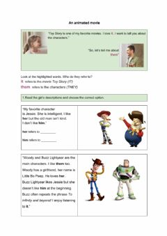 Interactive worksheet An animated movie
