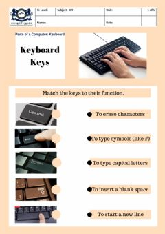 Interactive worksheet Keyboard keys