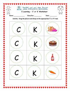 Ficha interactiva C or K worksheet