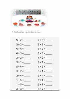 Interactive worksheet Sumas (resultado hasta 10)